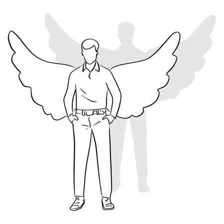 Toute la longueur de l'homme debout avec des ailes sur son dos vector illustration croquis doodle dessinés à la main avec des lignes noires isolés sur fond blanc