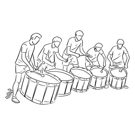 five teenagers playing marching drum vector illustration sketch doodle hand drawn with black lines isolated on white background. Teamwork concept.