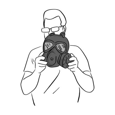 man holding dark gas mask vector illustration sketch doodle hand drawn with black lines isolated on white background Ilustracja