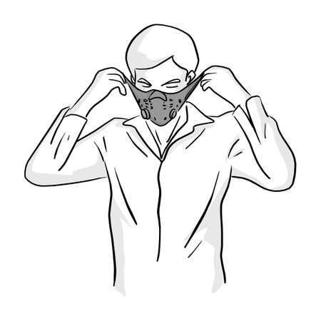 man wearing mask vector illustration sketch doodle hand drawn with black lines isolated on white background Ilustracja