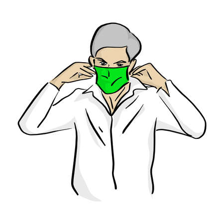 man wearing medical green mask vector illustration sketch doodle hand drawn with black lines isolated on white background