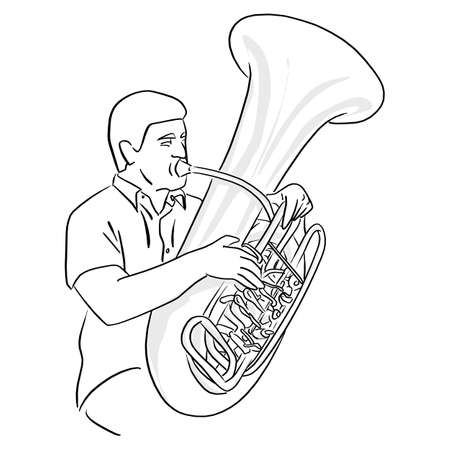 man playing Tuba vector illustration sketch doodle hand drawn with black lines isolated on white background Ilustracja