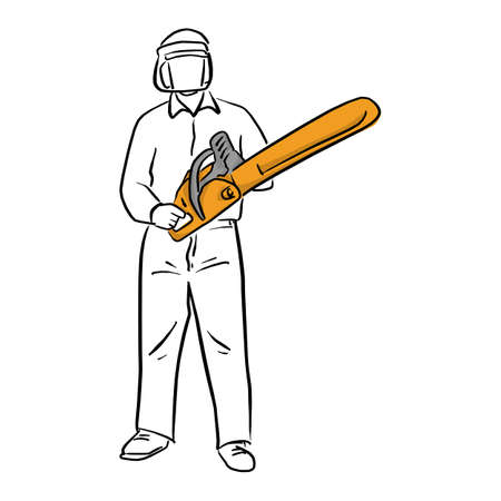 man holding chainsaw with safety vector illustration sketch doodle hand drawn with black lines isolated on white background. Carpentry tool. Ilustracja