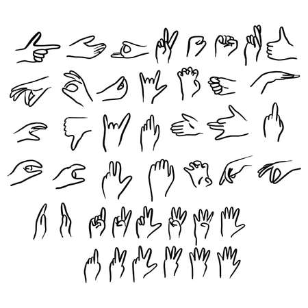 human hand gestures set vector illustration sketch doodle hand drawn with black lines isolated on white background