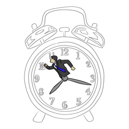 hurry businessman in a big retro alarm clock vector illustration sketch doodle hand drawn with black lines isolated on white background. time business concept. Ilustracja