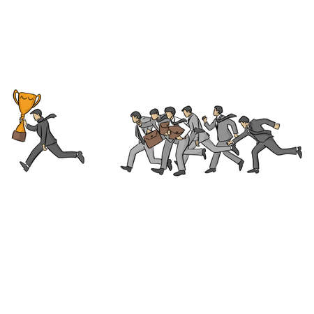 running businessman with gold trophy followed by other businesspeople vector illustration sketch doodle hand drawn with black lines isolated on white background