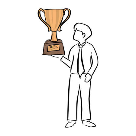 businessman holding big gold trophy vector illustration sketch doodle hand drawn with black lines isolated on white background Ilustracja