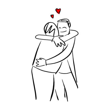 people hug each other with red heart shape vector illustration sketch doodle hand drawn with black lines isolated on white background Ilustracja