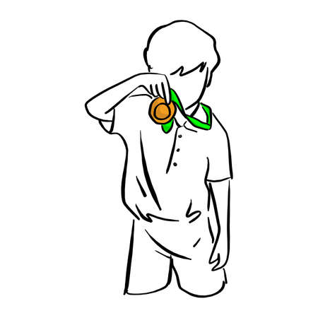 boy holding gold medal with green ribbon on his neck vector illustration sketch doodle hand drawn with black lines isolated on white background