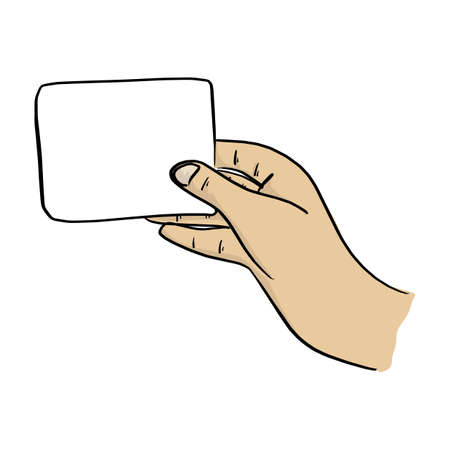close-up hand holding blank card vector illustration sketch doodle hand drawn with black lines isolated on white background