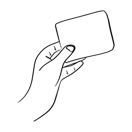 outline hand holding blank card vector illustration sketch doodle hand drawn with black lines isolated on white background