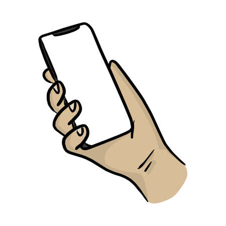 hand holding smartphone with notch display vector illustration sketch doodle hand drawn with black lines isolated on white background