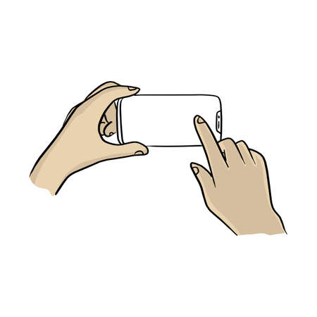 two hands using smartphone with notch display vector illustration sketch doodle hand drawn with black lines isolated on white background Ilustracja
