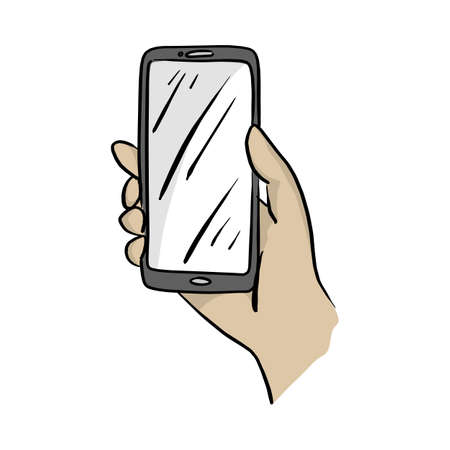 hand holding mobile phone vector illustration sketch doodle hand drawn with black lines isolated on white background