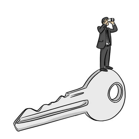 businessman looking through a telescope on big success key vector illustration sketch doodle hand drawn with black lines isolated on white background Ilustracja