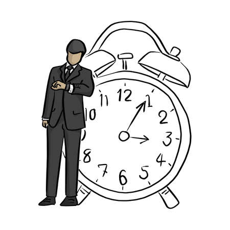 businessman looking at wrist watch with big retro alarm clock vector illustration sketch doodle hand drawn with black lines isolated on white background