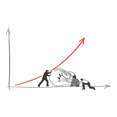 businessman with his friends help the red arrow up with big bulb vector illustration sketch doodle hand drawn with black lines isolated on white background