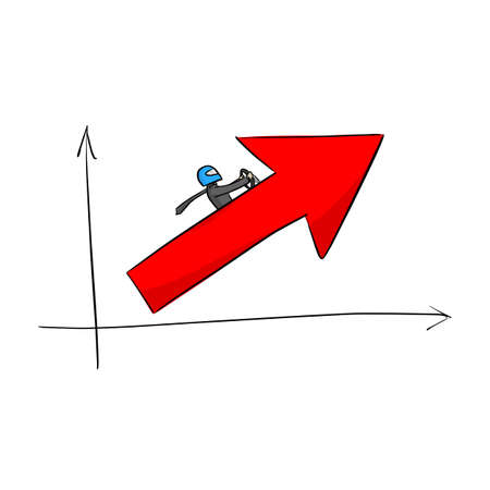 businessman driving the red arrow up vector illustration sketch doodle hand drawn with black lines isolated on white background. Business growth concept.