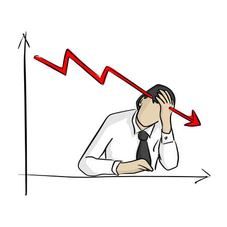 businessman grabbing his head with graph going down vector illustration sketch doodle hand drawn with black lines isolated on white background. Business crisis concept.