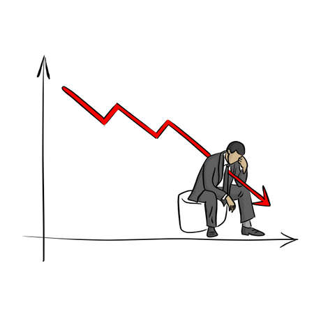 fail businessman grabbing his head with graph going down vector illustration sketch doodle hand drawn with black lines isolated on white background. Business crisis concept.