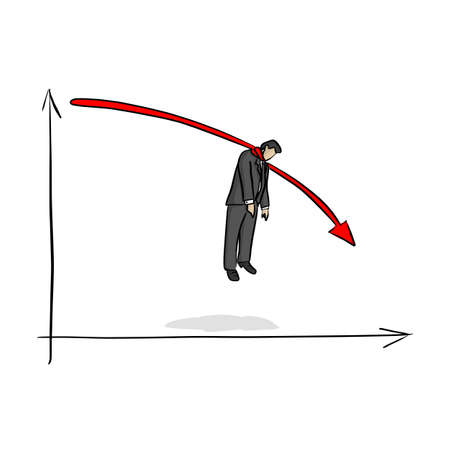 fail businessman hanging on red graph going down vector illustration sketch doodle hand drawn with black lines isolated on white background. Business crisis concept. Illustration