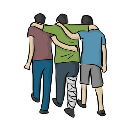 friends help man with bandage on his leg vector illustration sketch doodle hand drawn with black lines isolated on white background  イラスト・ベクター素材