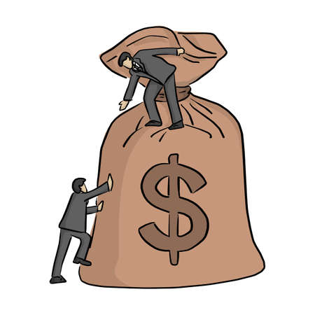 businessman help his friednd to go up to the money bag vector illustration sketch doodle hand drawn with black lines isolated on white background