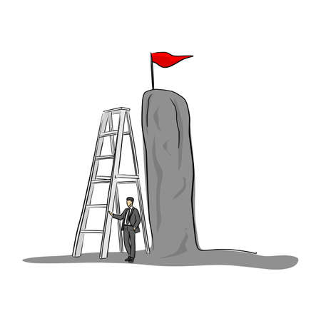 businessman using big ladder to get red flag vector illustration sketch doodle hand drawn with black lines isolated on white background Stock Illustratie