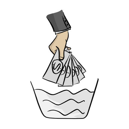 hand of businessman washing money on the bowl vector illustration sketch doodle hand drawn with black lines isolated on white background. Money laundering concept. Illustration