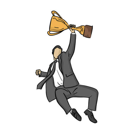 businessman jump with golden trophy vector illustration sketch doodle hand drawn with black lines isolated on white background. Business success concept.