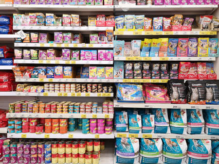CHIANG RAI, THAILAND - FEBRUARY 12 : cat food sold in supermarket  on February 12, 2019 in Chiang rai, Thailand.