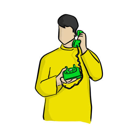 man using green desk telephone vector illustration with black lines isolated on white background