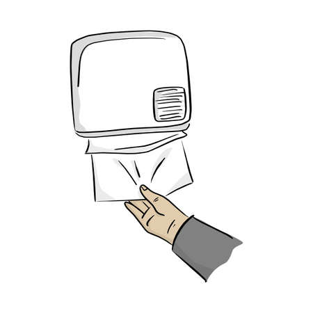 close-up hand using paper dispenser on the wall vector illustration with black lines isolated on white background