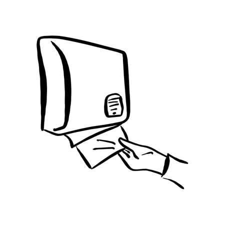 gros plan, main, utilisation, distributeur papier, sur, les, mur, vecteur, illustration, à, noir, lignes, isolé, blanc, fond