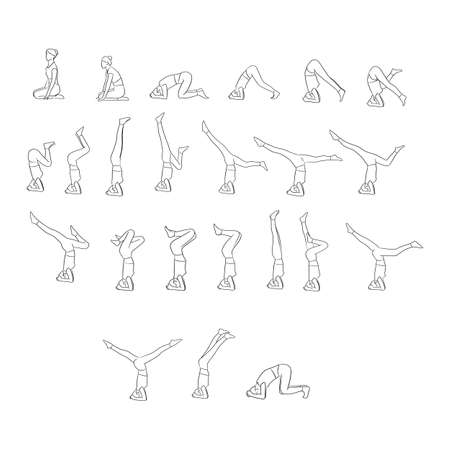 women doing yoga in different poses vector illustration with black lines isolated on white background Illustration
