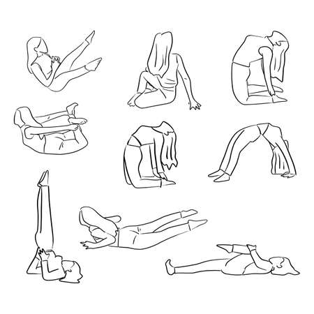 set of women doing yoga in different poses vector illustration isolated on white background