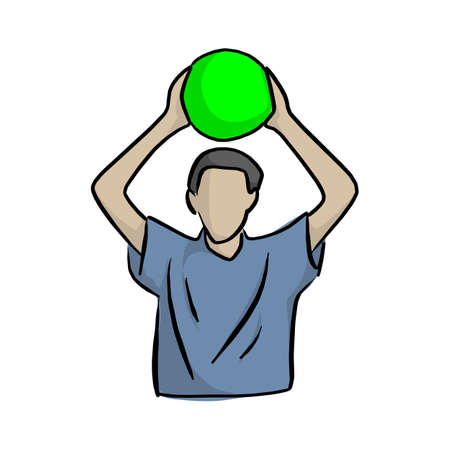 man holding green ball over head vector illustration with black lines isolated on white background