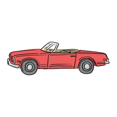 red retro convertible car vector illustration with black lines isolated on white background