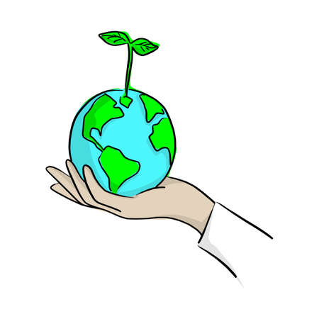 hand planting green earth with plant vector illustration with black lines isolated on white background. Saving environment concept.