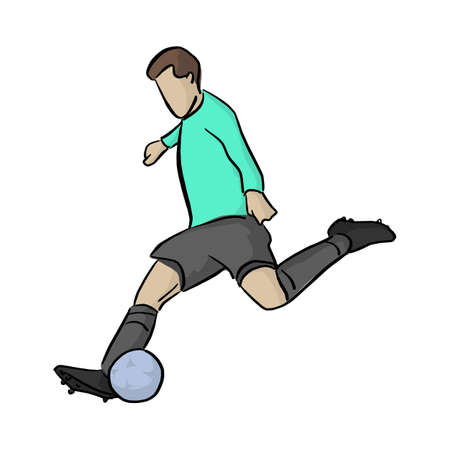 soccer player shooting a blue ball vector illustration with black lines isolated on white background
