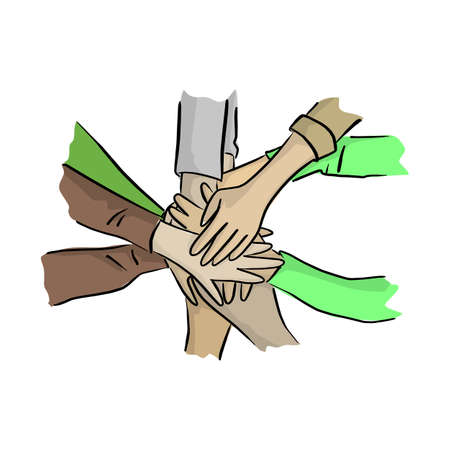 hand together with help vector illustration with black lines isolated on white background. Volunteer concept.