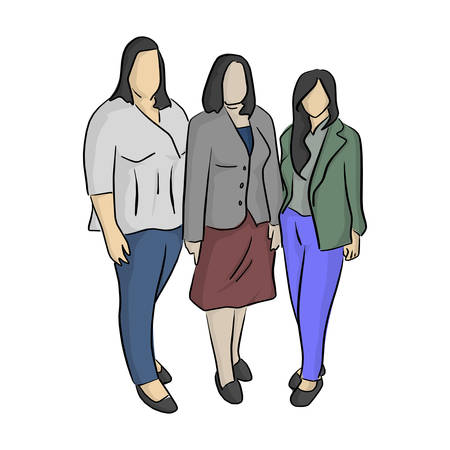 three business women with different shapes vector illustration with black lines isolated on white background