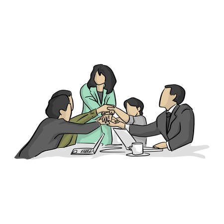 business people collaboration teamwork union vector illustration with black lines isolated on white background Stock Illustratie
