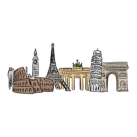 famous landmark in europe vector illustration with black lines isolated on white background. Ilustração