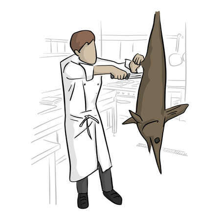 chef cutting big fish in kitchen vector illustration with black lines isolated on white background.