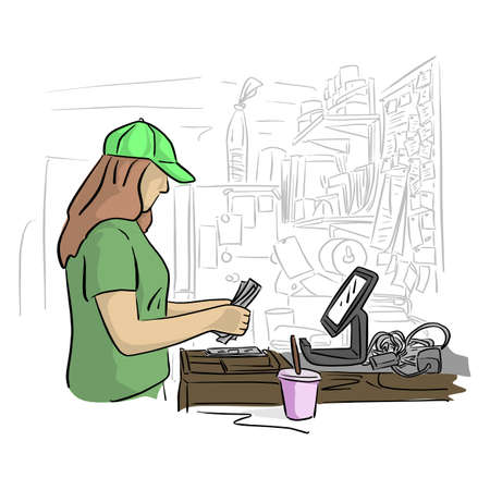 female cashier counting money in her office vector illustration with black lines isolated on white background