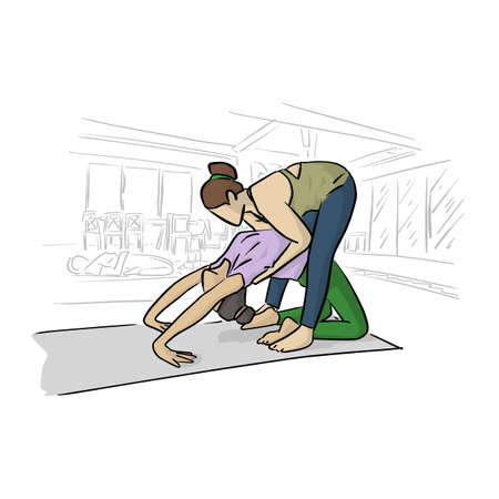 fitness woman doing yoga with her instructor in room vector illustration with black lines isolated on white background