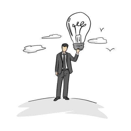 businessman holding big bulb vector illustration with black lines isolated on white background. Business idea concept. Иллюстрация