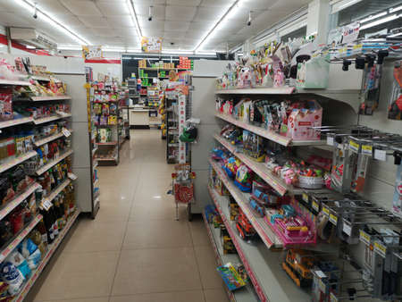 CHIANG RAI, THAILAND - JANUARY 10 : interior view of 7-eleven with many products on January 10, 2019 in Chiang rai, Thailand.