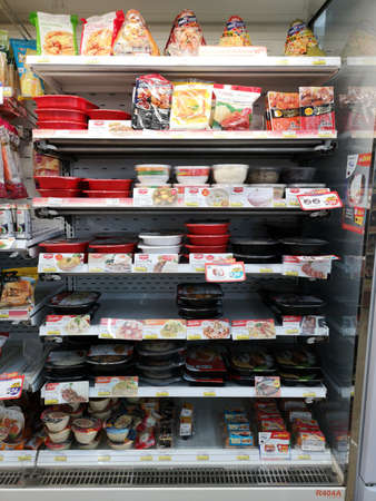 CHIANG RAI, THAILAND - JANUARY 10 : various brands of frozen food on shelf sold in 7-eleven on January 10, 2019 in Chiang rai, Thailand.